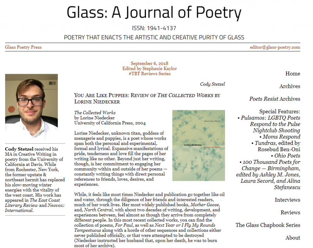 Poetry book review of Lorine Niedecker's collected work on Glass: a journal of poetry