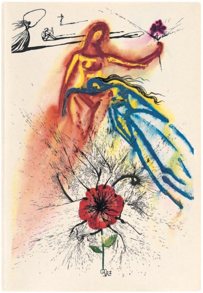 Salvador Dali, from Alice in Wonderland watercolor