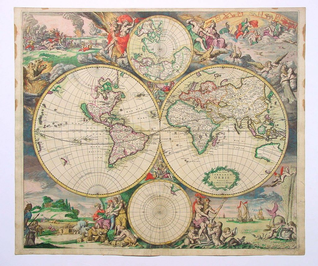 Old map of the world, continents all pressed together, gods all about.