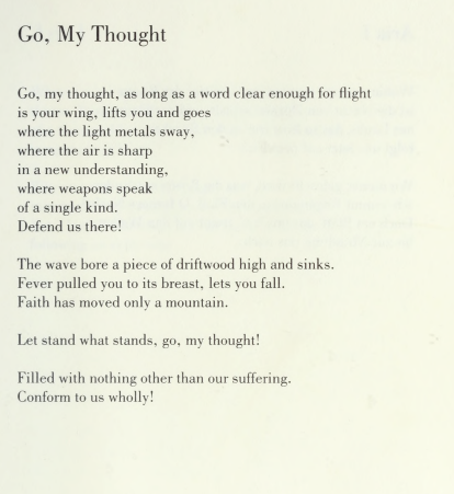 Poem by Ingeborg Bachmann titled Go, My Thought